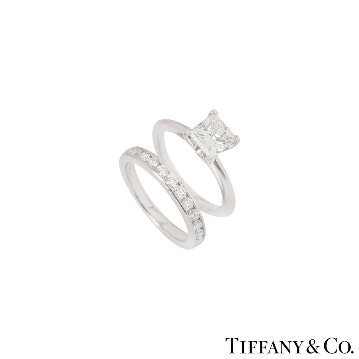 Tiffany & Co. Platinum Diamond Ring 1.28ct I/VS1 With Diamond Half Eternity Ring